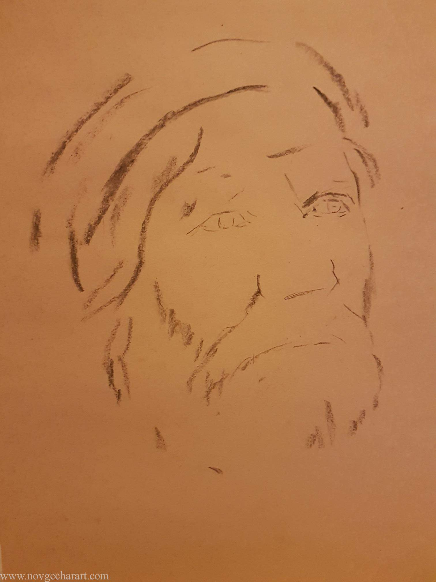 Outline Drawing of Old Man Portrait