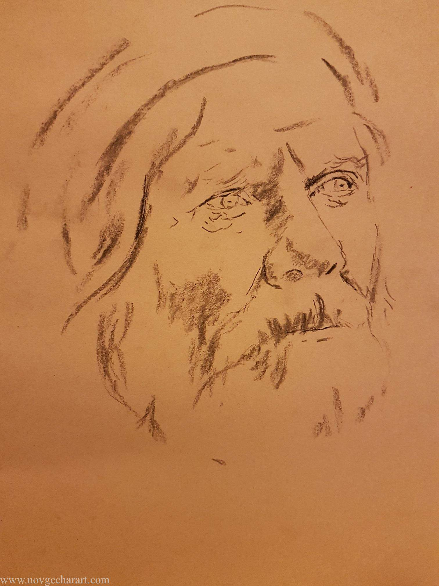 Outline Drawing of Old Man Portrait Second Step