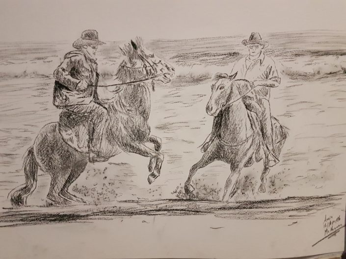 Portrait Drawing Melbourne Horse Riders Sketch Charcoal