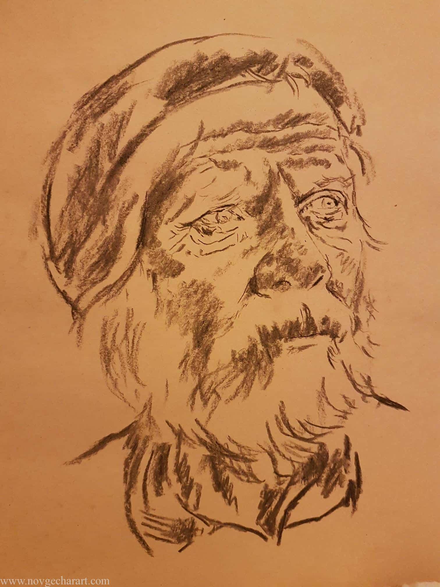 Shadowing Old Man Drawing Portrait