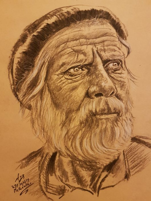 Portrait Drawing Melbourne Old man Drawing Portrait