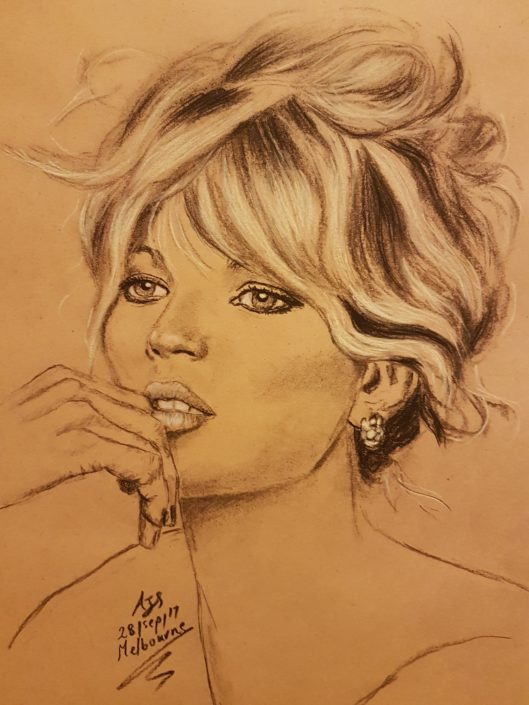 Portrait Drawing Melbourne Brigitte Bardot Sketch