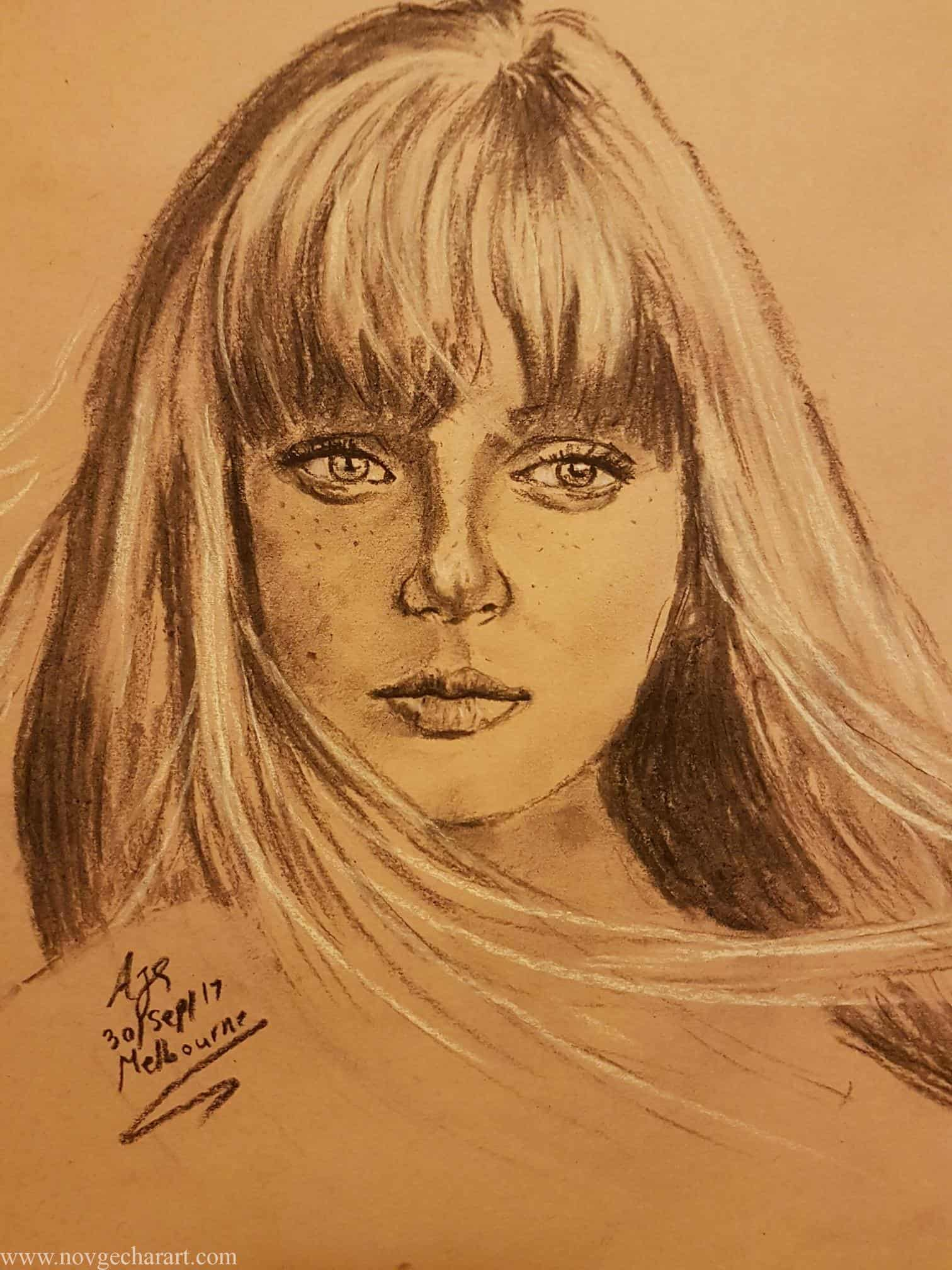 Draw Portrait of Girl Completed