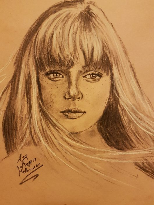 Portrait Drawing Melbourne Girl Sketch