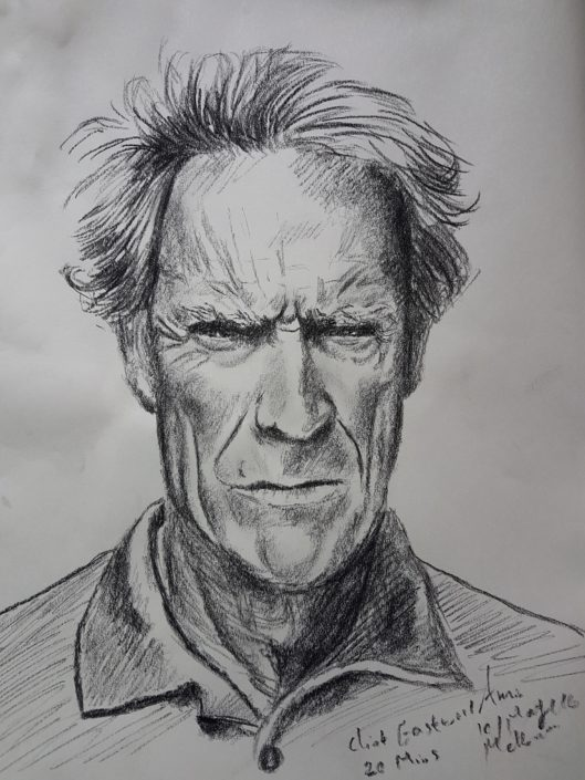 Portrait Drawing Melbourne Clint Eastwood Old Portrait Sketch Charcoal